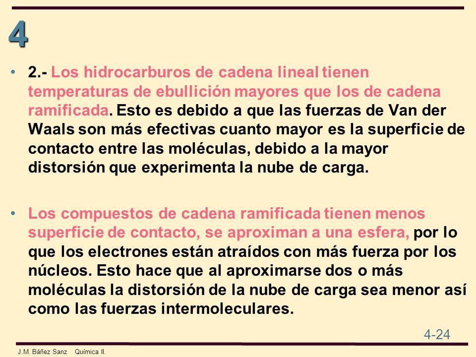 4 4-24 J.M. Báñez Sanz Química II. 2.- Los hidrocarburos de cadena lineal tienen temperaturas de ebullición mayores que los de cadena ramificada. Esto