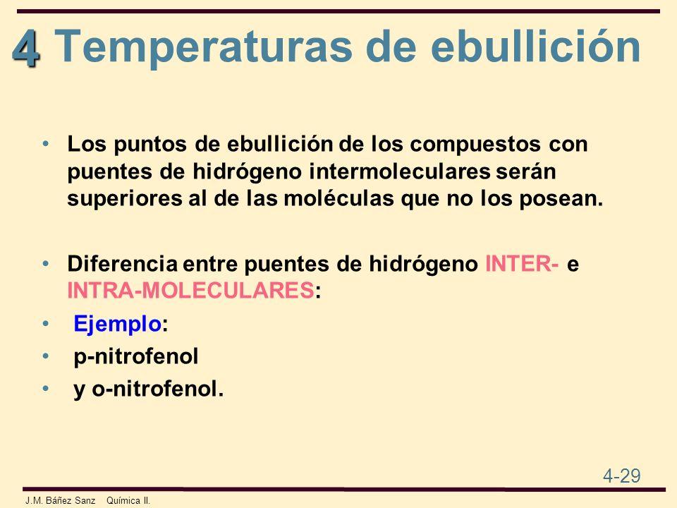 4 4-29 J.M. Báñez Sanz Química II. Los puntos de ebullición de los compuestos con puentes de hidrógeno intermoleculares serán superiores al de las mol