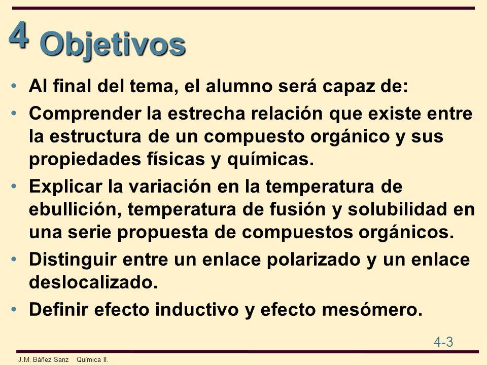 4 4-3 J.M. Báñez Sanz Química II. Objetivos Al final del tema, el alumno será capaz de: Comprender la estrecha relación que existe entre la estructura