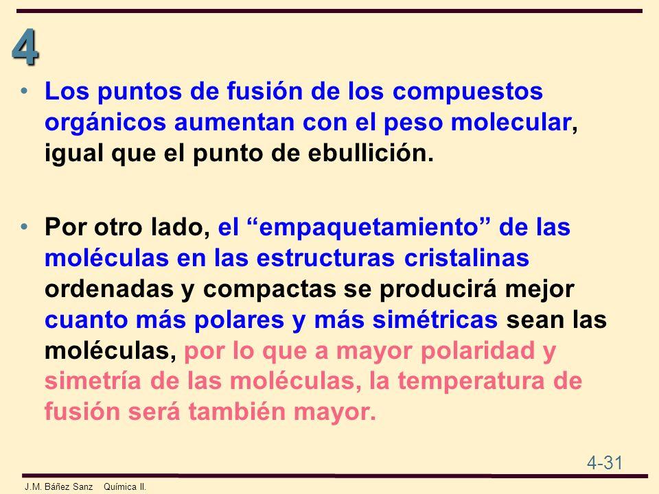 4 4-31 J.M. Báñez Sanz Química II. Los puntos de fusión de los compuestos orgánicos aumentan con el peso molecular, igual que el punto de ebullición.