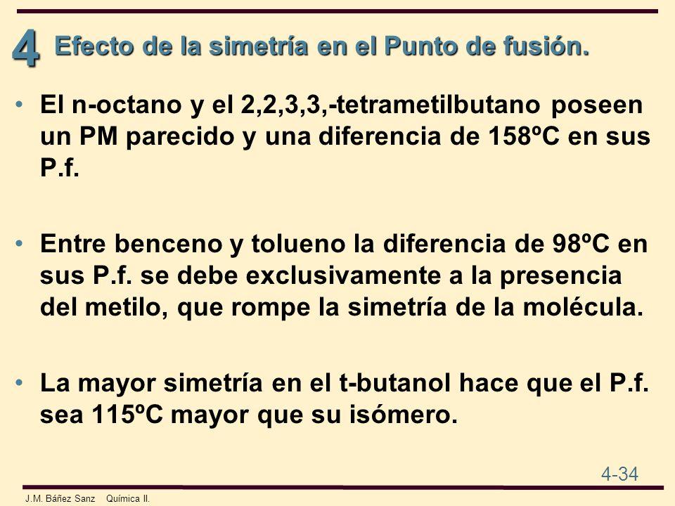 4 4-34 J.M. Báñez Sanz Química II. El n-octano y el 2,2,3,3,-tetrametilbutano poseen un PM parecido y una diferencia de 158ºC en sus P.f. Entre bencen