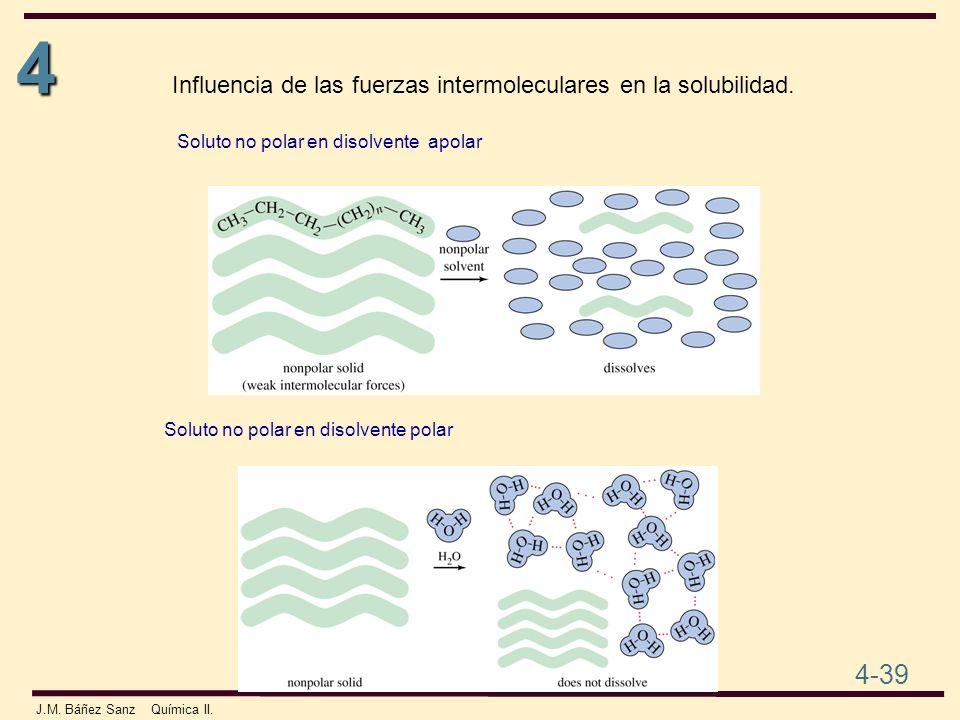 4 4-39 J.M. Báñez Sanz Química II. Soluto no polar en disolvente apolar Soluto no polar en disolvente polar Influencia de las fuerzas intermoleculares