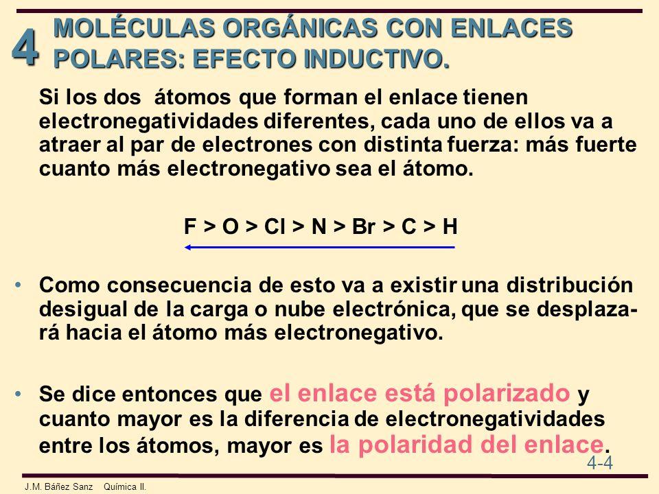 4 4-4 J.M. Báñez Sanz Química II. MOLÉCULAS ORGÁNICAS CON ENLACES POLARES: EFECTO INDUCTIVO. Si los dos átomos que forman el enlace tienen electronega