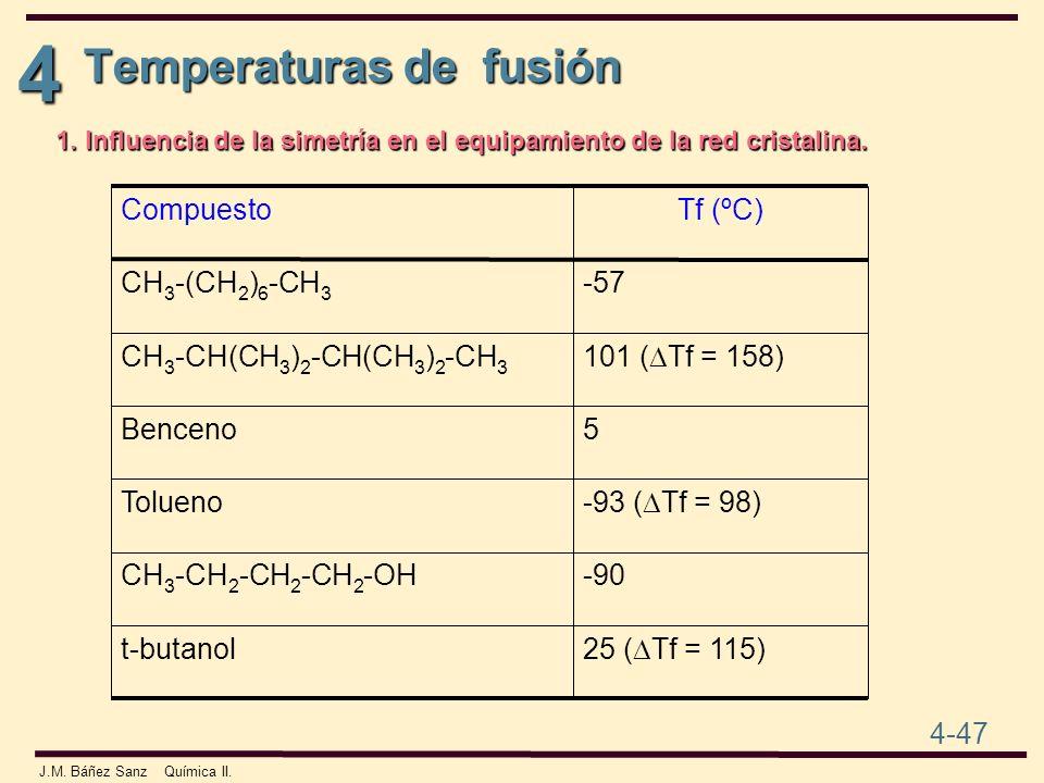 4 4-47 J.M. Báñez Sanz Química II. Temperaturas de fusión 1. Influencia de la simetría en el equipamiento de la red cristalina. 25 ( Tf = 115) t-butan