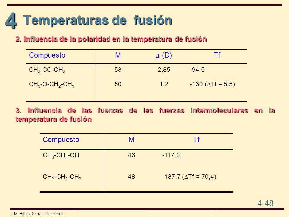 4 4-48 J.M. Báñez Sanz Química II. Temperaturas de fusión 2. Influencia de la polaridad en la temperatura de fusión -130 ( Tf = 5,5) 1,260CH 3 -O-CH 2