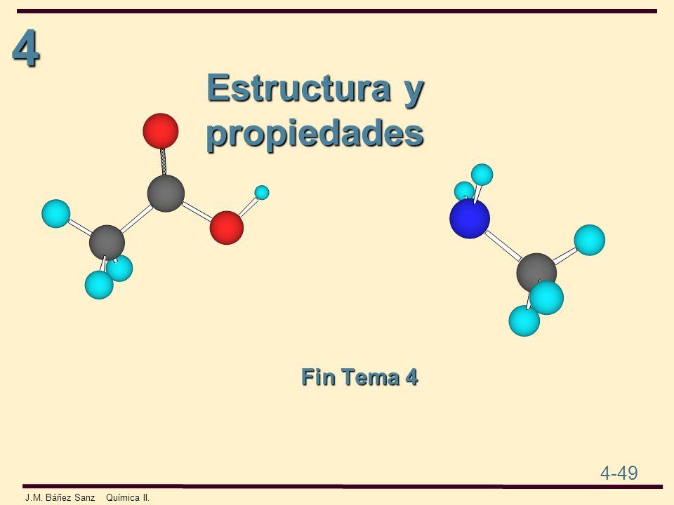 4 4-49 J.M. Báñez Sanz Química II. Estructura y propiedades Fin Tema 4