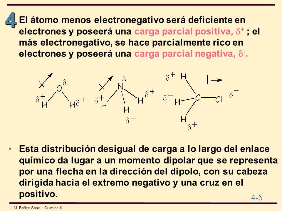 4 4-5 J.M. Báñez Sanz Química II. El átomo menos electronegativo será deficiente en electrones y poseerá una carga parcial positiva, + ; el más electr