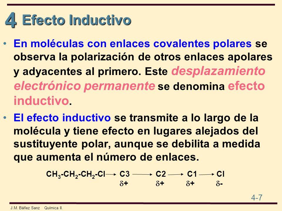 4 4-7 J.M. Báñez Sanz Química II. Efecto Inductivo En moléculas con enlaces covalentes polares se observa la polarización de otros enlaces apolares y