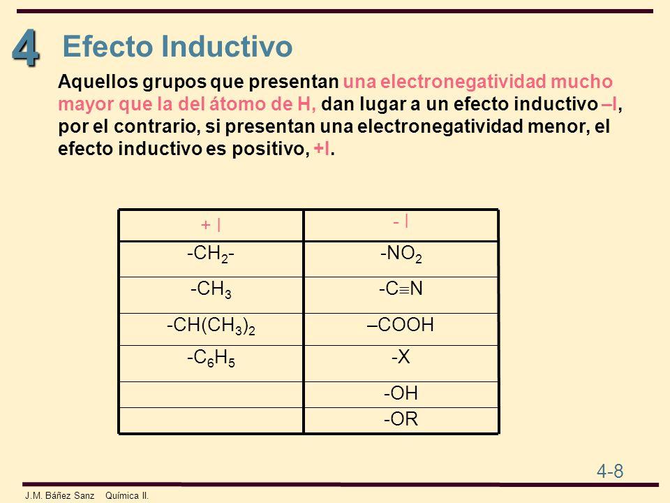4 4-8 J.M. Báñez Sanz Química II. Aquellos grupos que presentan una electronegatividad mucho mayor que la del átomo de H, dan lugar a un efecto induct