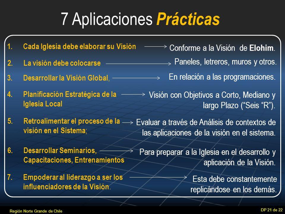 7 Aplicaciones Prácticas DP 21 de 22 1.Cada Iglesia debe elaborar su Visión 6.Desarrollar Seminarios, Capacitaciones, Entrenamientos 7.
