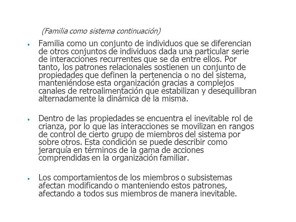 Familia como un conjunto de individuos que se diferencian de otros conjuntos de individuos dada una particular serie de interacciones recurrentes que