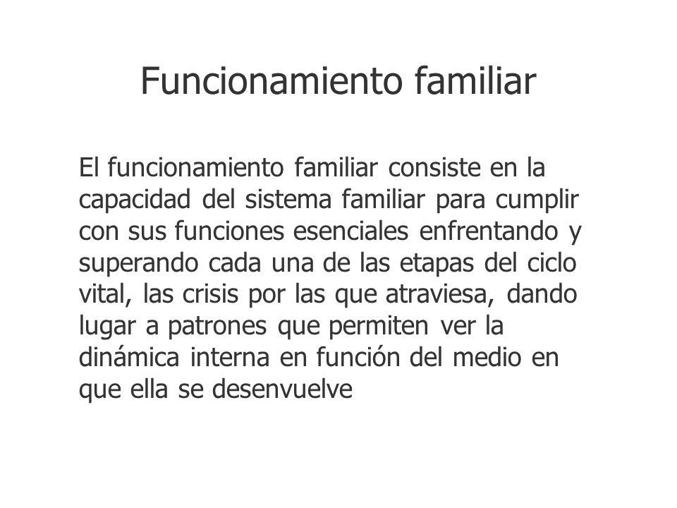Funcionamiento familiar El funcionamiento familiar consiste en la capacidad del sistema familiar para cumplir con sus funciones esenciales enfrentando