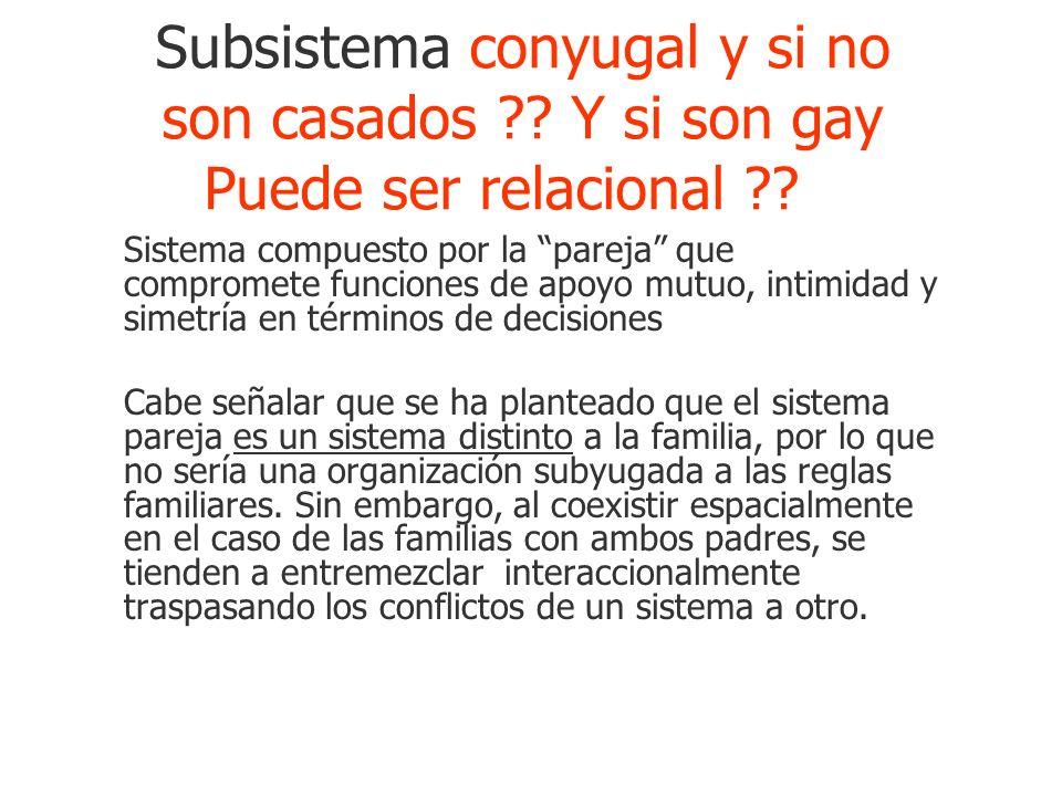 Subsistema conyugal y si no son casados ?? Y si son gay Puede ser relacional ?? Sistema compuesto por la pareja que compromete funciones de apoyo mutu
