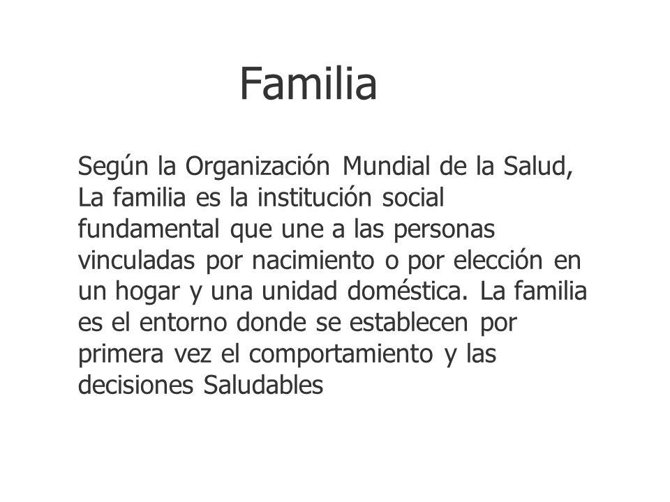 Familia Según la Organización Mundial de la Salud, La familia es la institución social fundamental que une a las personas vinculadas por nacimiento o