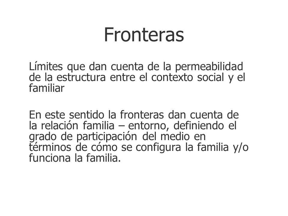 Fronteras Límites que dan cuenta de la permeabilidad de la estructura entre el contexto social y el familiar En este sentido la fronteras dan cuenta d