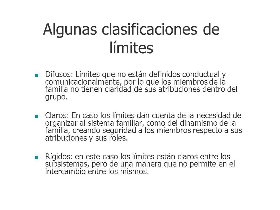 Algunas clasificaciones de límites Difusos: Límites que no están definidos conductual y comunicacionalmente, por lo que los miembros de la familia no