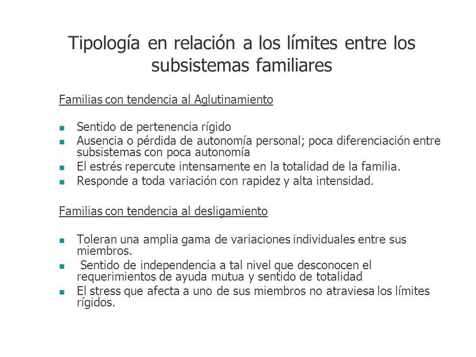 Tipología en relación a los límites entre los subsistemas familiares Familias con tendencia al Aglutinamiento Sentido de pertenencia rígido Ausencia o
