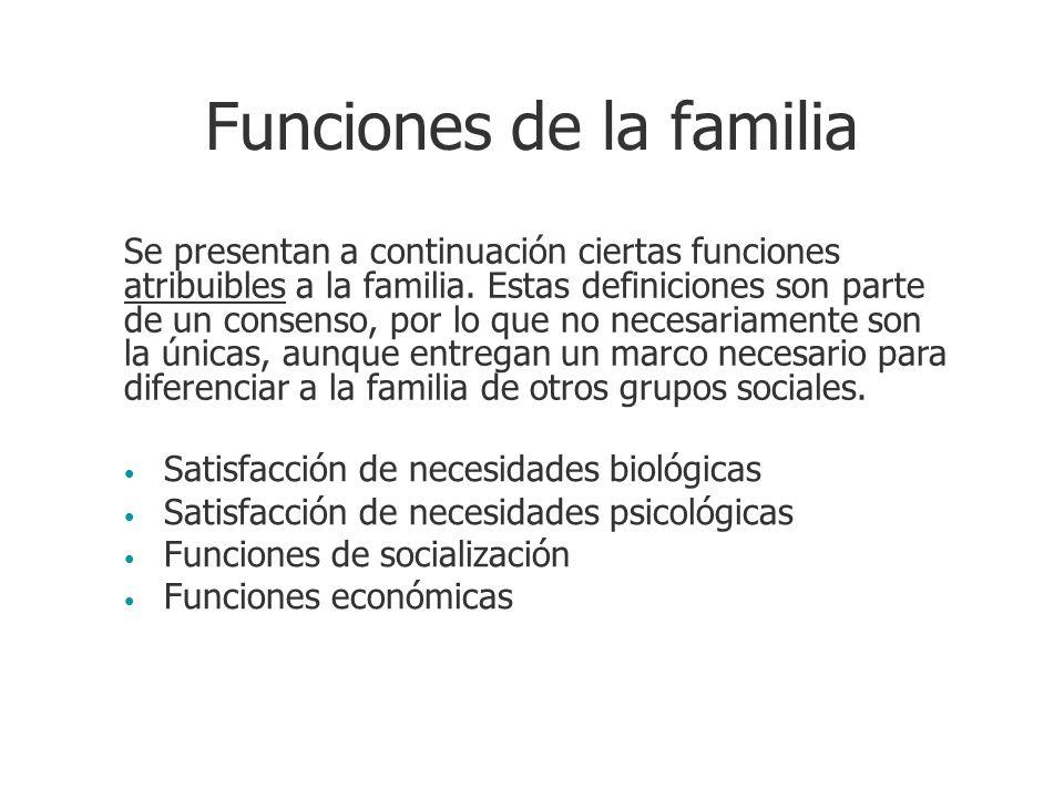 Funciones de la familia Satisfacción de necesidades biológicas Satisfacción de necesidades psicológicas Funciones de socialización Funciones económica