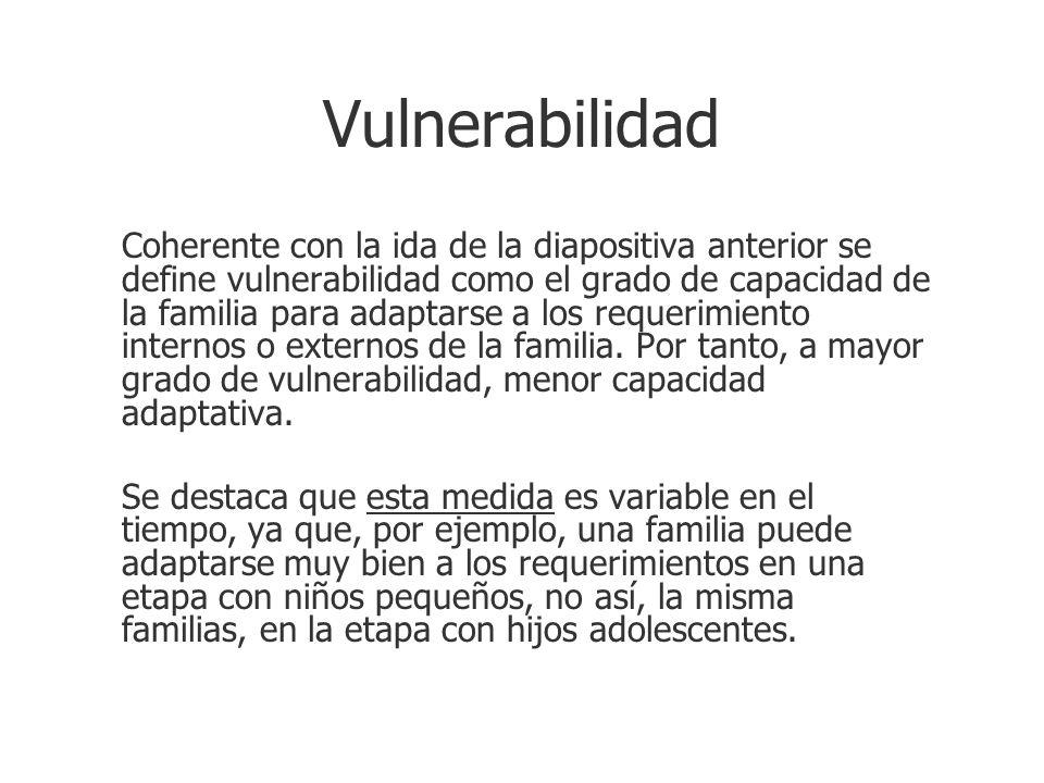 Vulnerabilidad Coherente con la ida de la diapositiva anterior se define vulnerabilidad como el grado de capacidad de la familia para adaptarse a los