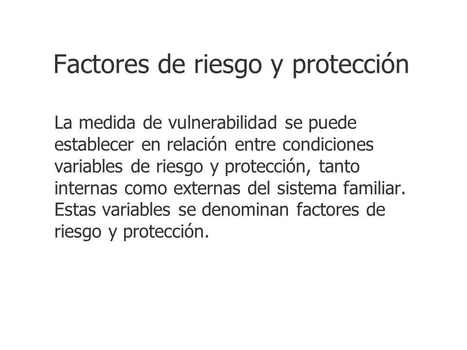 Factores de riesgo y protección La medida de vulnerabilidad se puede establecer en relación entre condiciones variables de riesgo y protección, tanto