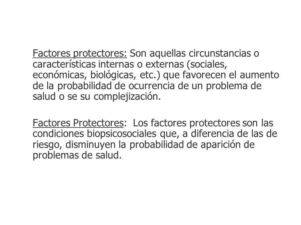 Factores protectores: Son aquellas circunstancias o características internas o externas (sociales, económicas, biológicas, etc.) que favorecen el aume