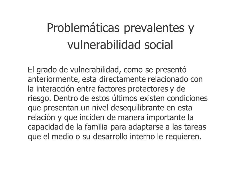 Problemáticas prevalentes y vulnerabilidad social El grado de vulnerabilidad, como se presentó anteriormente, esta directamente relacionado con la int