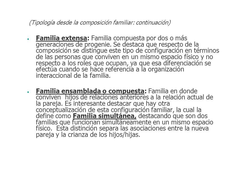 Familia extensa: Familia compuesta por dos o más generaciones de progenie. Se destaca que respecto de la composición se distingue este tipo de configu