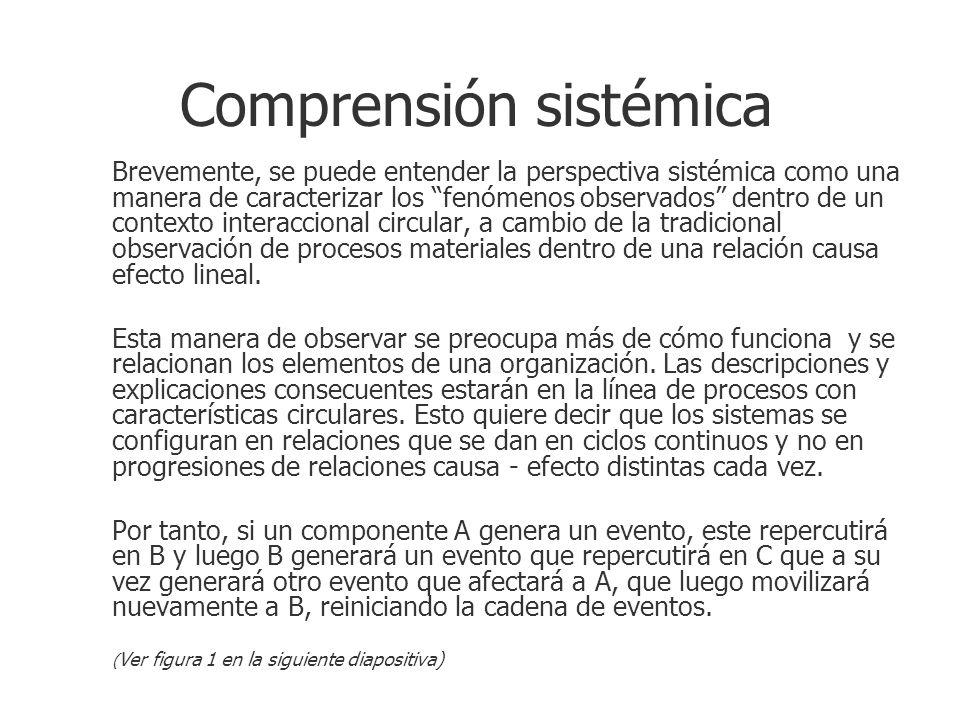 Comprensión sistémica Brevemente, se puede entender la perspectiva sistémica como una manera de caracterizar los fenómenos observados dentro de un con