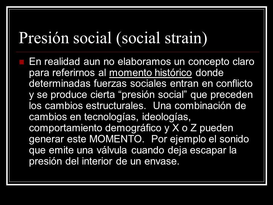 Presión social (social strain) En realidad aun no elaboramos un concepto claro para referirnos al momento histórico donde determinadas fuerzas sociale