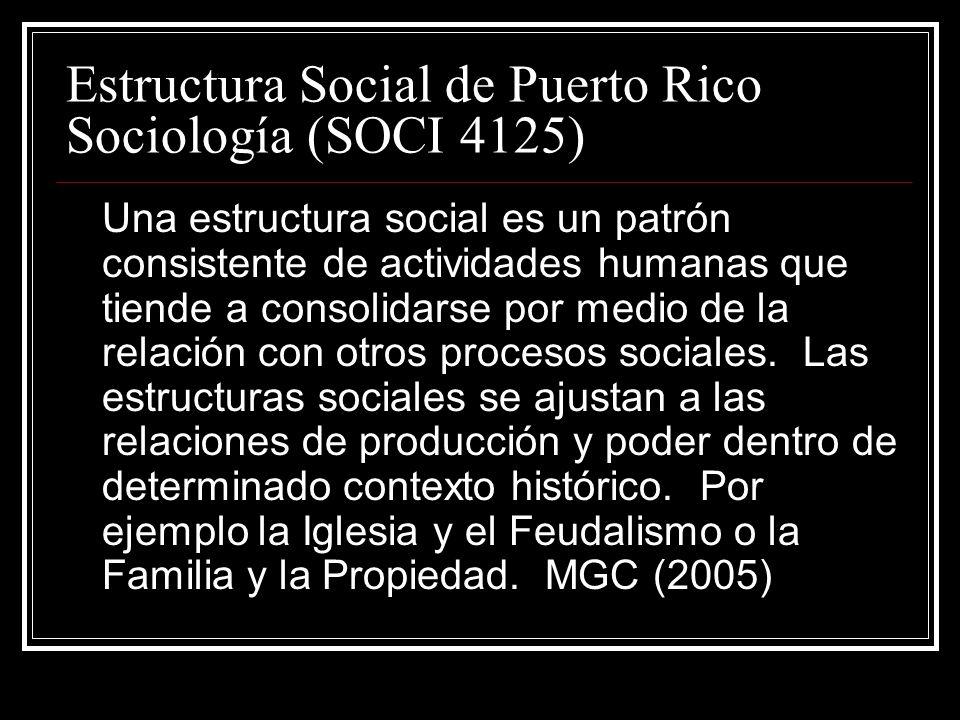 Estructura Social de Puerto Rico Sociología (SOCI 4125) Una estructura social es un patrón consistente de actividades humanas que tiende a consolidars
