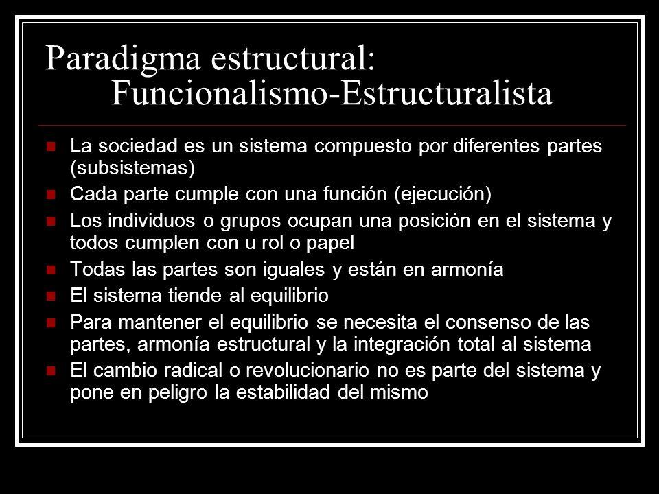 Paradigma estructural: Funcionalismo-Estructuralista La sociedad es un sistema compuesto por diferentes partes (subsistemas) Cada parte cumple con una