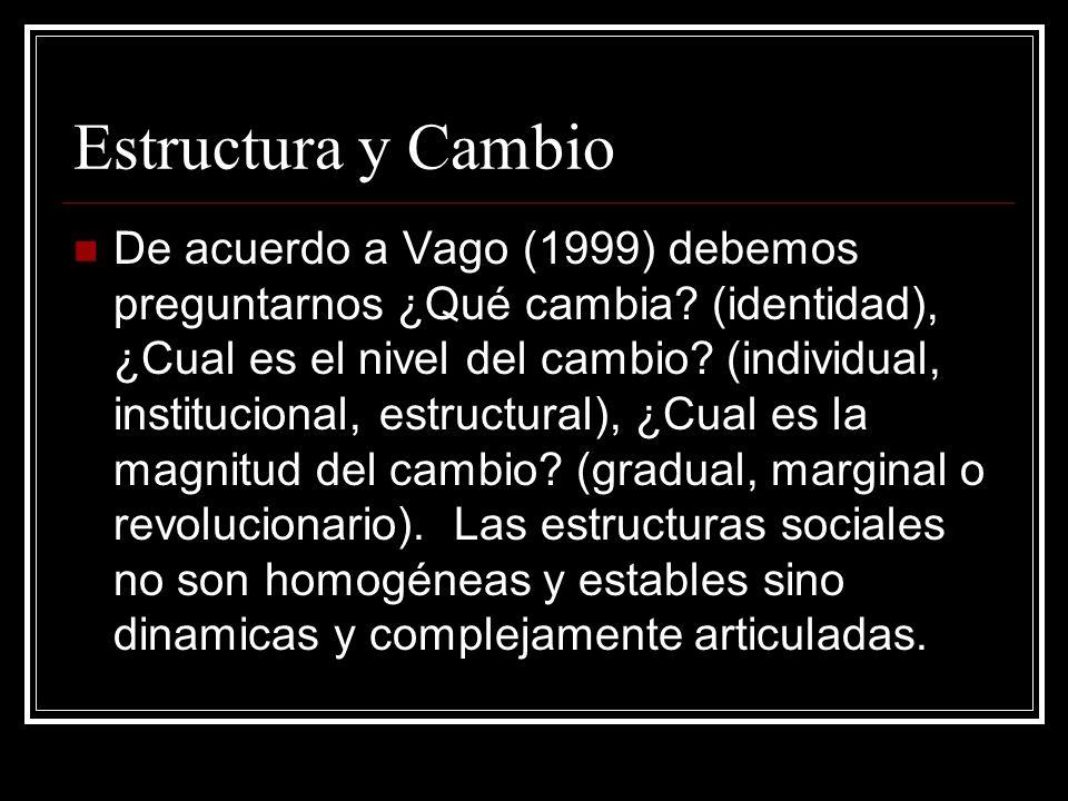 Estructura y Cambio De acuerdo a Vago (1999) debemos preguntarnos ¿Qué cambia? (identidad), ¿Cual es el nivel del cambio? (individual, institucional,