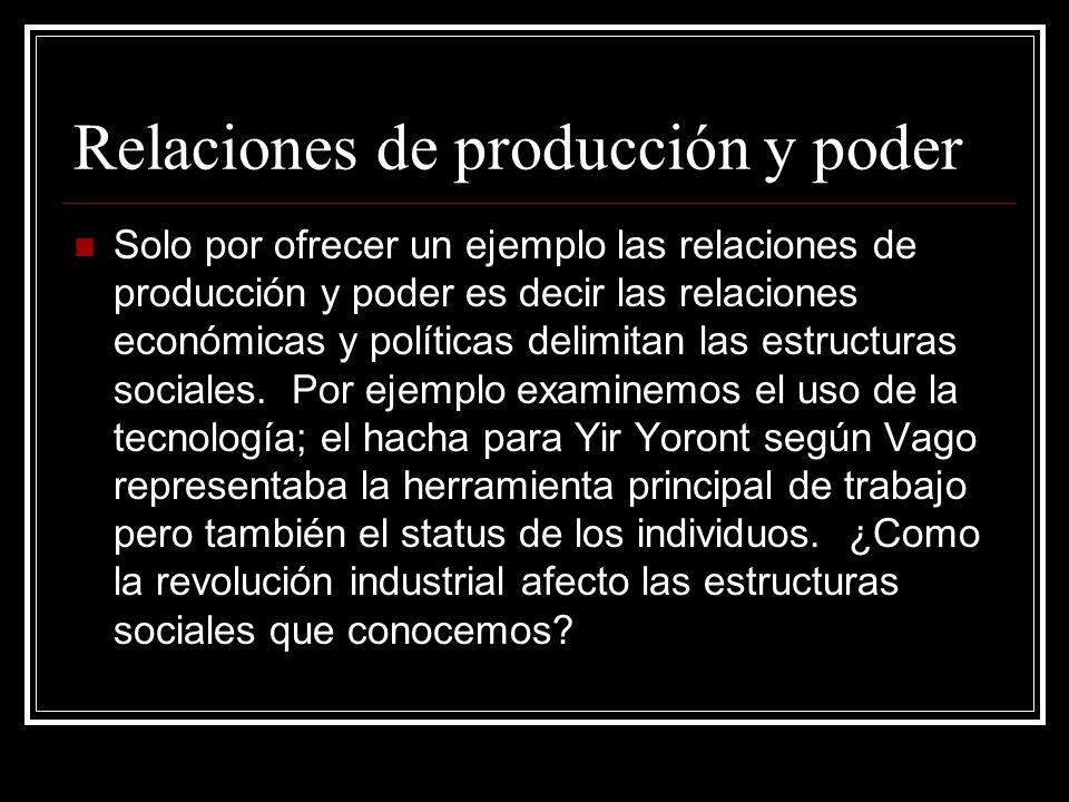 Relaciones de producción y poder Solo por ofrecer un ejemplo las relaciones de producción y poder es decir las relaciones económicas y políticas delim