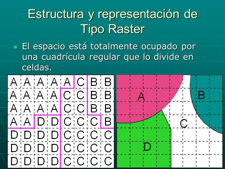 Estructura y representación de Tipo Raster El espacio está totalmente ocupado por una cuadrícula regular que lo divide en celdas. El espacio está tota