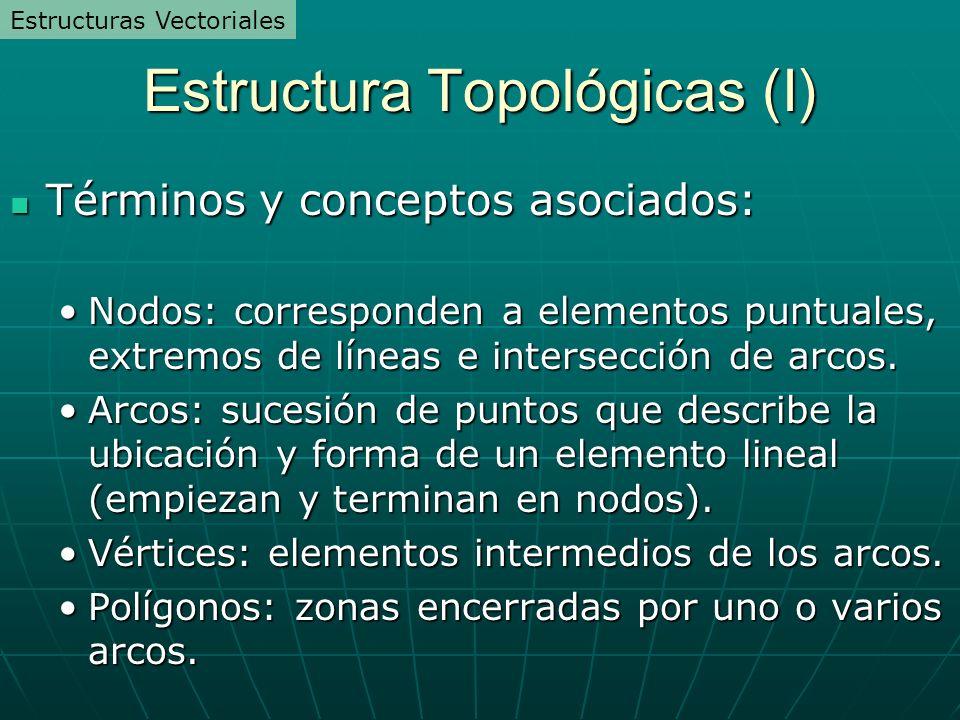 Estructura Topológicas (I) Términos y conceptos asociados: Términos y conceptos asociados: Nodos: corresponden a elementos puntuales, extremos de líneas e intersección de arcos.Nodos: corresponden a elementos puntuales, extremos de líneas e intersección de arcos.