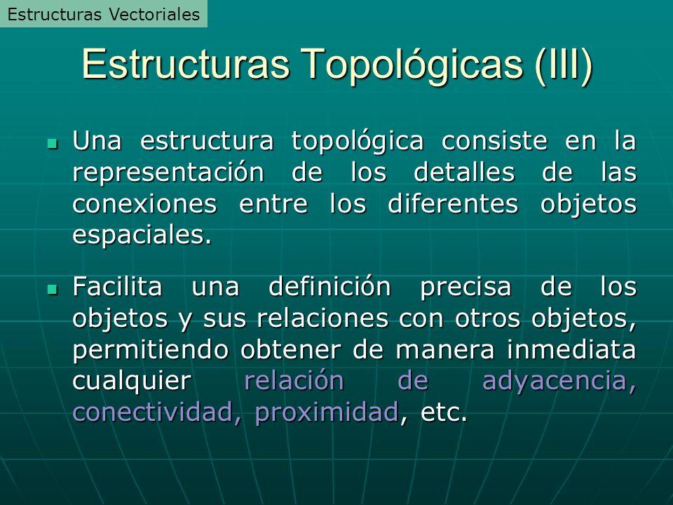 Estructuras Topológicas (III) Una estructura topol ó gica consiste en la representaci ó n de los detalles de las conexiones entre los diferentes objet