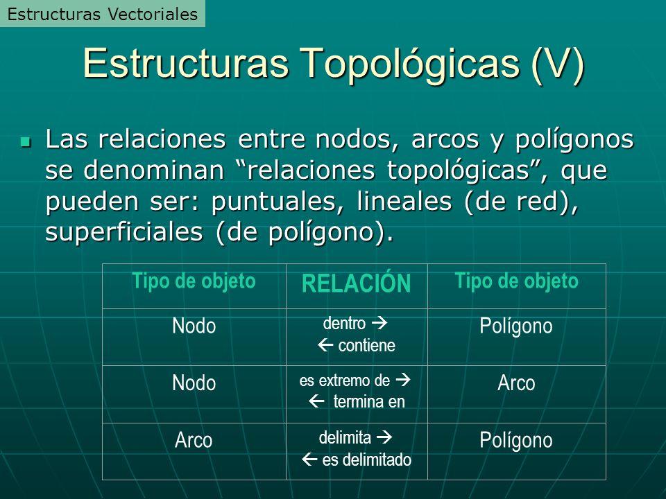 Estructuras Topológicas (V) Las relaciones entre nodos, arcos y pol í gonos se denominan relaciones topol ó gicas, que pueden ser: puntuales, lineales (de red), superficiales (de pol í gono).