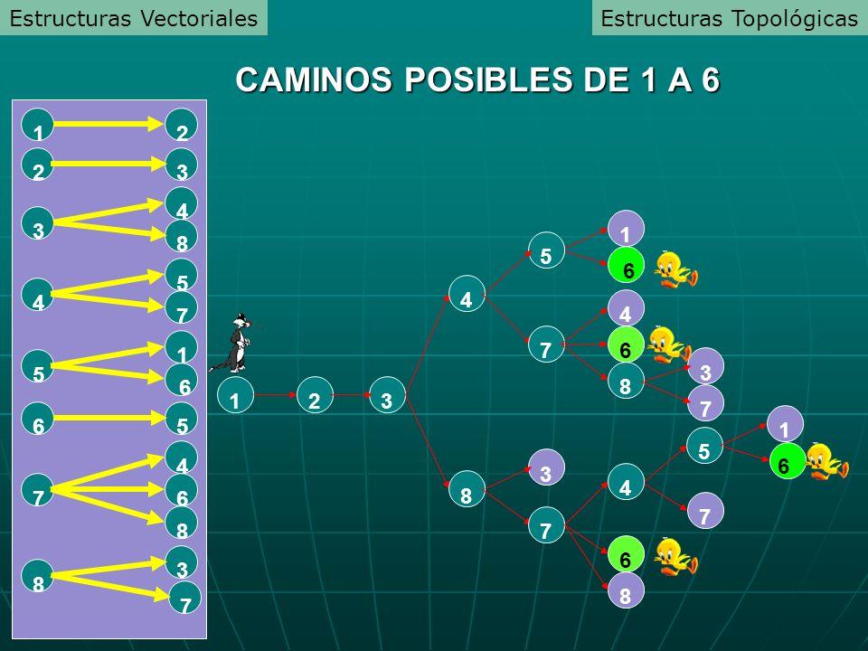 1231 6 8 45 7 6 8 4 3 7 5 7 8 6 41 6 3 7 8 3 7 67 4 8 56 5 1 6 4 5 7 3 4 8 23 12 CAMINOS POSIBLES DE 1 A 6 Estructuras TopológicasEstructuras Vectoriales