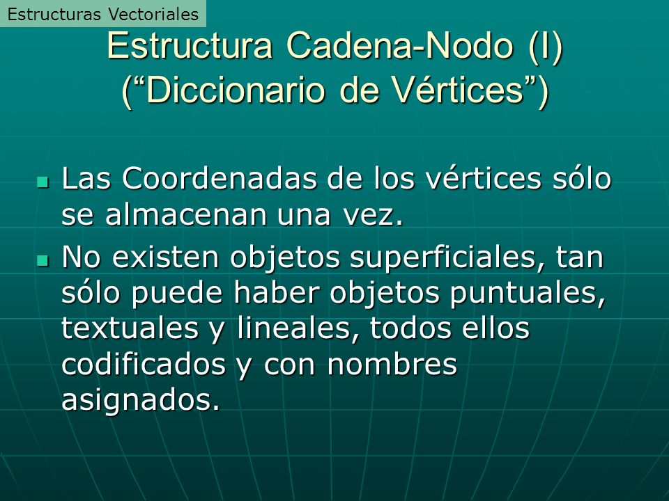 Estructura Cadena-Nodo (I) (Diccionario de Vértices) Las Coordenadas de los vértices sólo se almacenan una vez. Las Coordenadas de los vértices sólo s