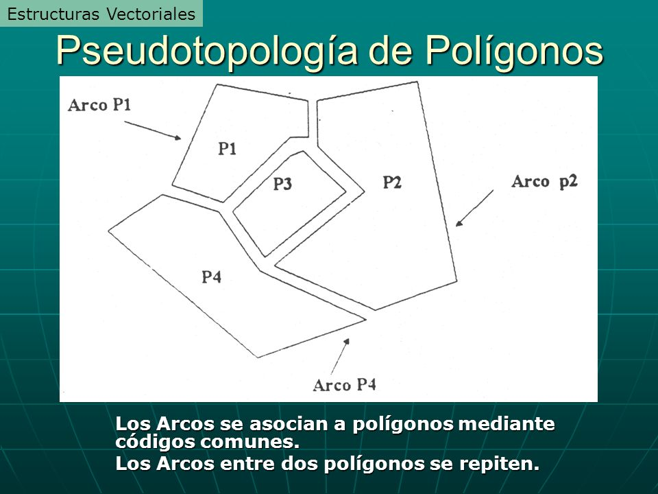Pseudotopología de Polígonos Los Arcos se asocian a polígonos mediante códigos comunes. Los Arcos entre dos polígonos se repiten. Estructuras Vectoria