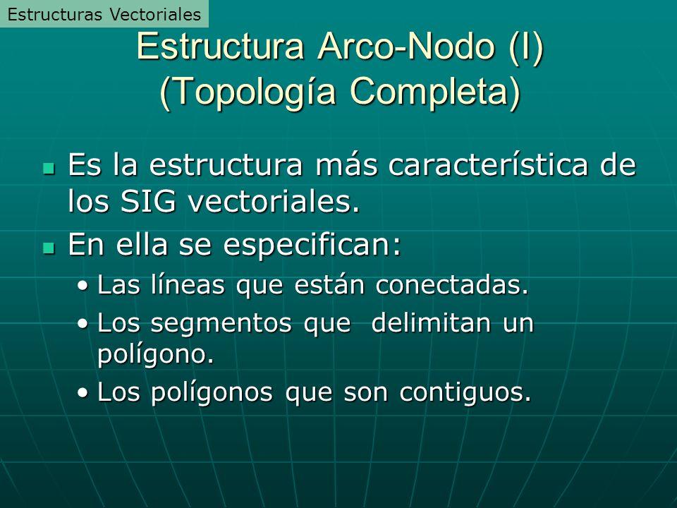 Estructura Arco-Nodo (I) (Topología Completa) Es la estructura más característica de los SIG vectoriales. Es la estructura más característica de los S