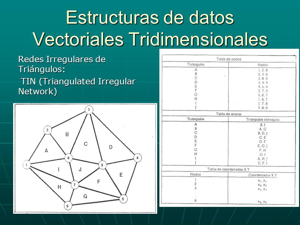 Estructuras de datos Vectoriales Tridimensionales Redes Irregulares de Triángulos: TIN (Triangulated Irregular Network) TIN (Triangulated Irregular Ne