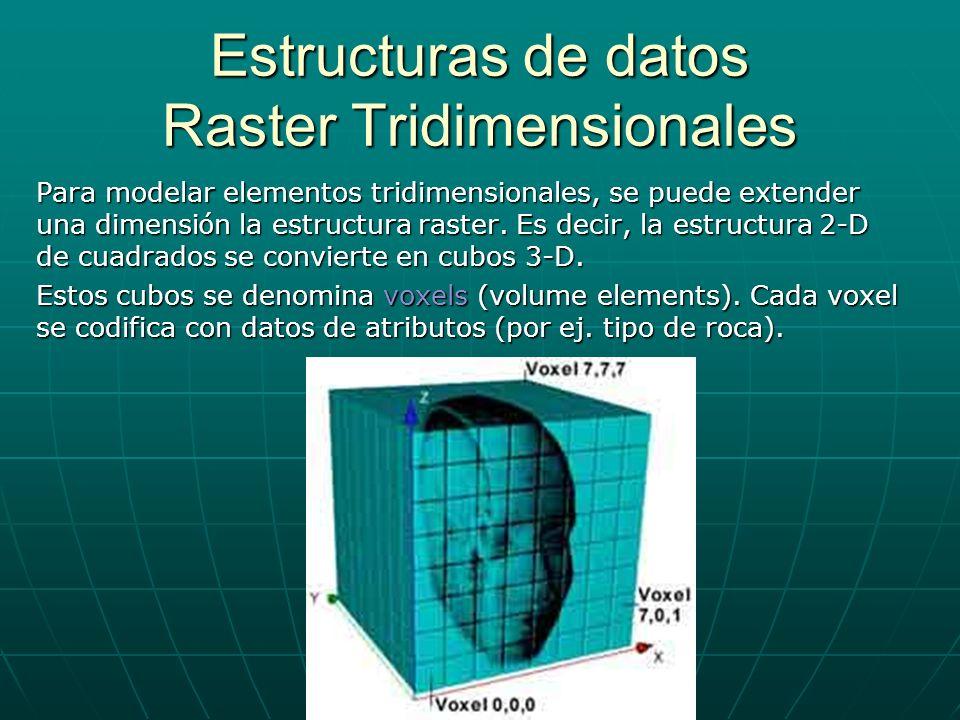 Estructuras de datos Raster Tridimensionales Para modelar elementos tridimensionales, se puede extender una dimensi ó n la estructura raster. Es decir