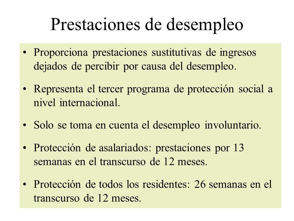 Prestaciones de desempleo Proporciona prestaciones sustitutivas de ingresos dejados de percibir por causa del desempleo.