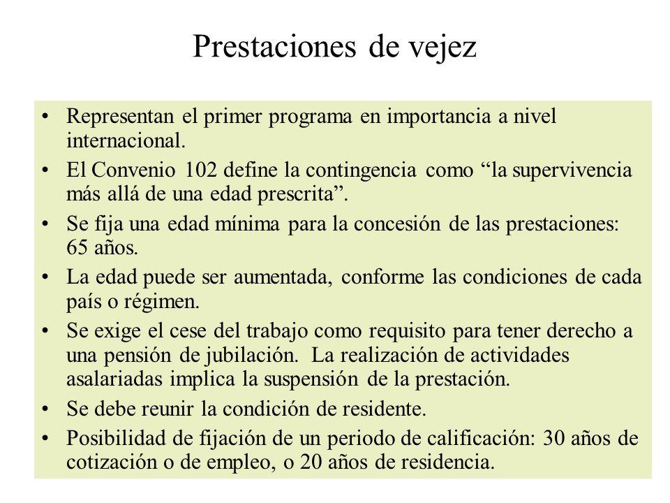 Prestaciones de vejez Representan el primer programa en importancia a nivel internacional.