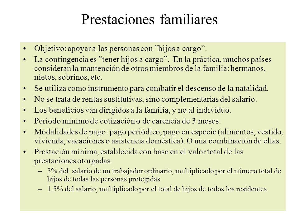 Prestaciones familiares Objetivo: apoyar a las personas con hijos a cargo.