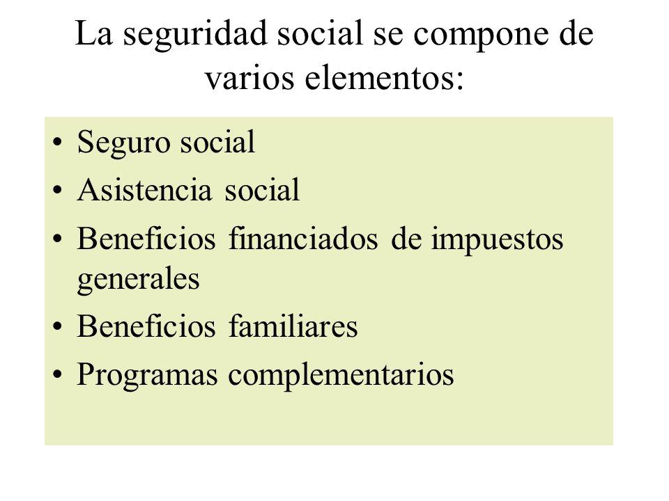La seguridad social se compone de varios elementos: Seguro social Asistencia social Beneficios financiados de impuestos generales Beneficios familiares Programas complementarios