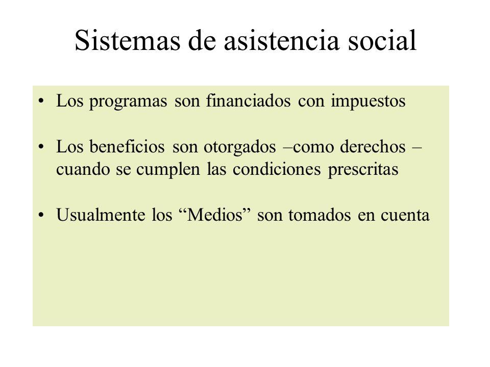 Sistemas de asistencia social Los programas son financiados con impuestos Los beneficios son otorgados –como derechos – cuando se cumplen las condiciones prescritas Usualmente los Medios son tomados en cuenta