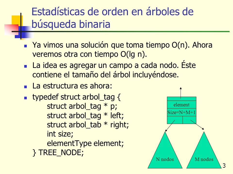 3 Ya vimos una solución que toma tiempo O(n). Ahora veremos otra con tiempo O(lg n). La idea es agregar un campo a cada nodo. Éste contiene el tamaño