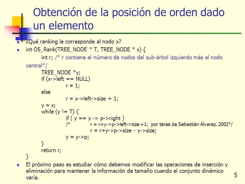 5 Obtención de la posición de orden dado un elemento ¿Qué ranking le corresponde al nodo x.